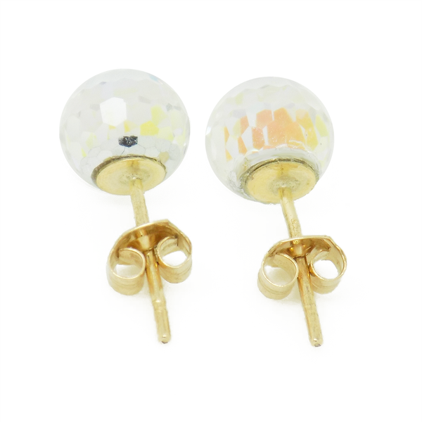 9ct Yellow Gold Austrian Crystal Ball Stud Earrings Fastening