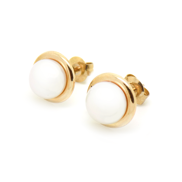 9ct Yellow Gold 8mm Freshwater Pearl With Polished Edge Stud Earrings