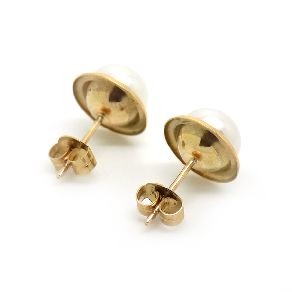 9ct Yellow Gold 8mm Freshwater Pearl With Polished Edge Stud Earrings - Fastenings