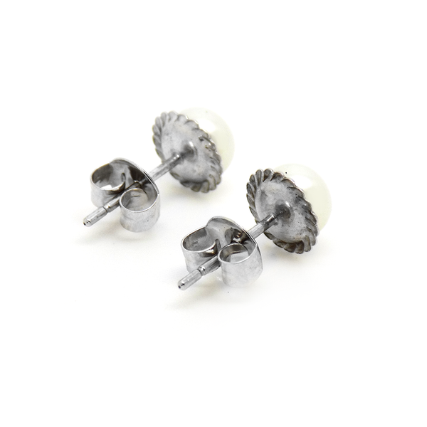 9ct White Gold Freshwater Pearl with Rope Style Edge Stud Earrings