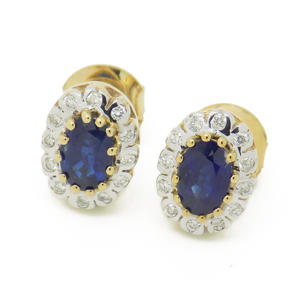 9ct Yellow Gold Sapphire & Diamond Cluster Stud Earrings