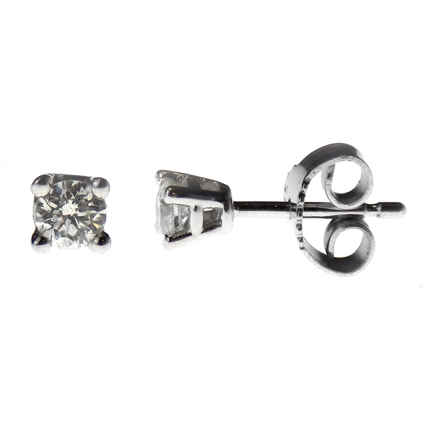 9ct White Gold Brilliant Cut 0.20ct Round Diamond Stud Earrings with Certificate