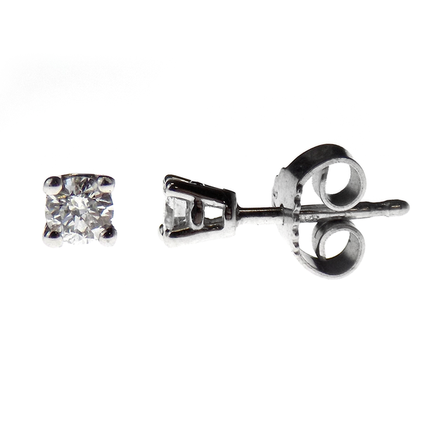 9ct White Gold Brilliant Cut .25ct Round Diamond Stud Earrings with Certificate