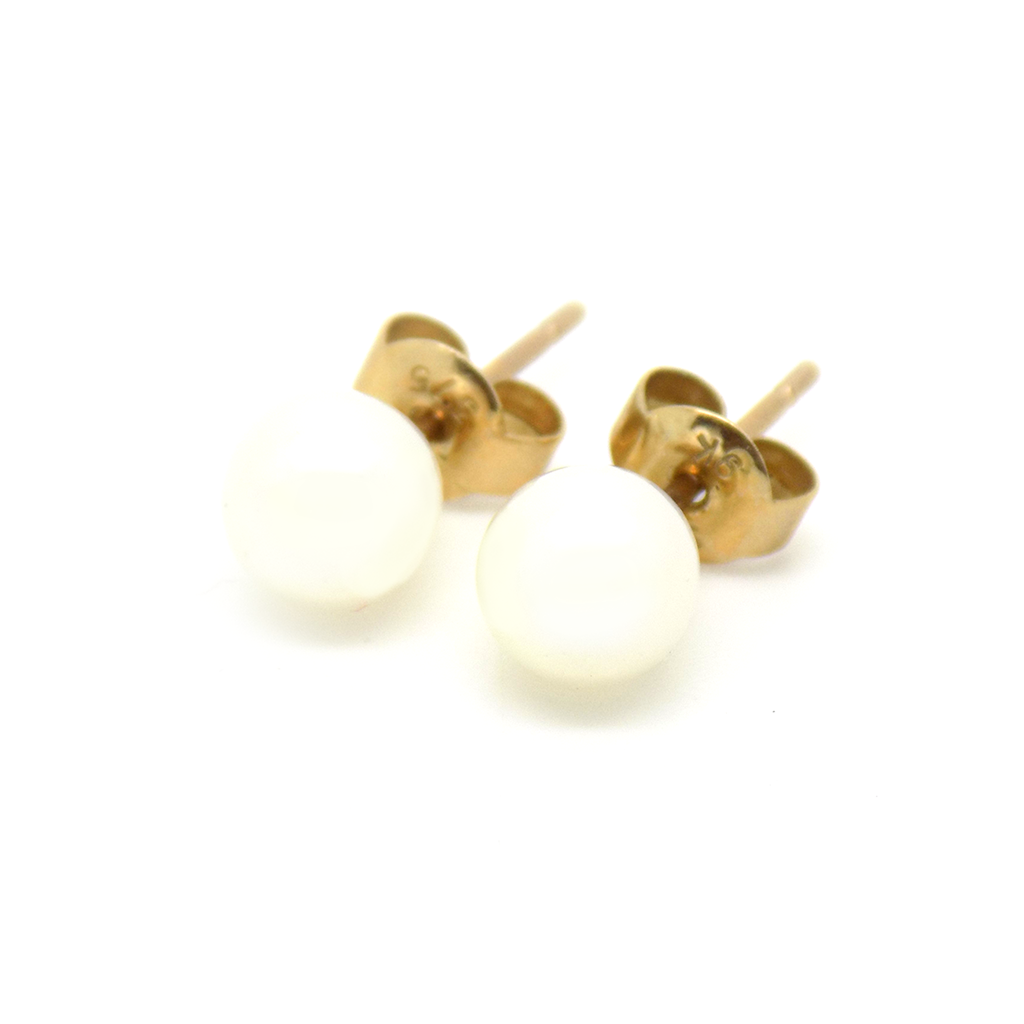 9ct Yellow Gold 6mm 'Akoya' Pearl Stud Earrings