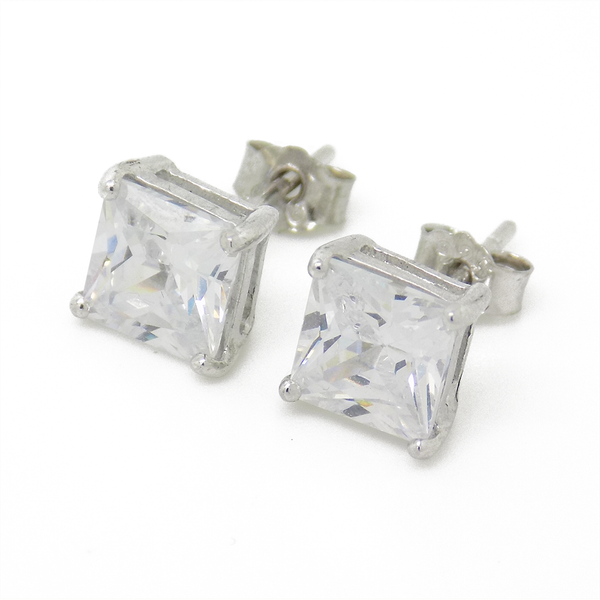 Sterling Silver 6mm Square Claw Set Cubic Zirconia Stud Earrings
