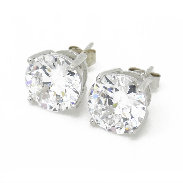 a00b63025 Sterling Silver 8mm Round Claw Set Cubic Zirconia Stud Earrings ...