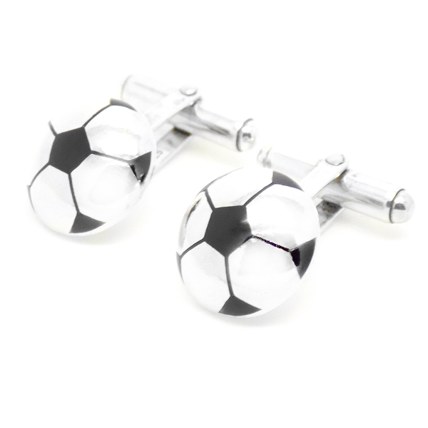 Sterling Silver Black Enamel Football Cufflinks