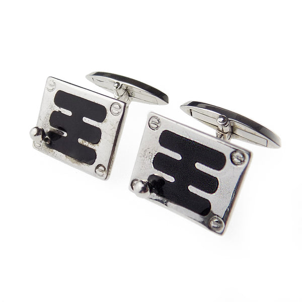 Sterling Silver Black Enamel 'Gear Shift' Cufflinks