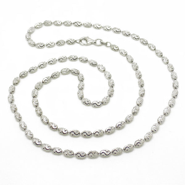 "Sterling Silver 20"" Diamond Cut Oval Bead Necklace"