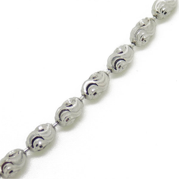 Sterling Silver Diamond Cut Oval Bead Necklace