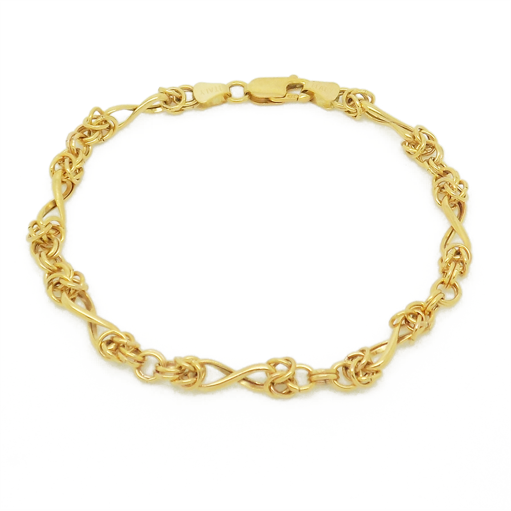 9ct Yellow Gold Twisted Byzantine Hollow Bracelet