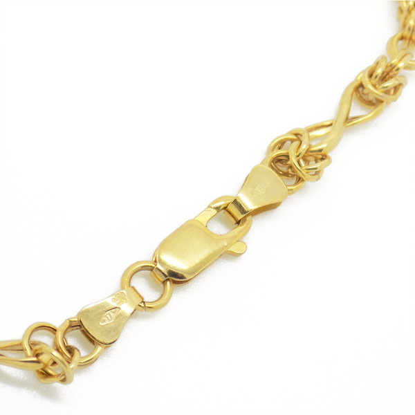 9ct Yellow Gold Twisted Byzantine Hollow Bracelet Fastening