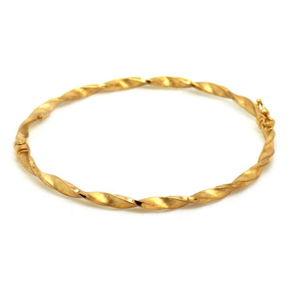 9ct Yellow Gold Hollow Satin Twist Bangle