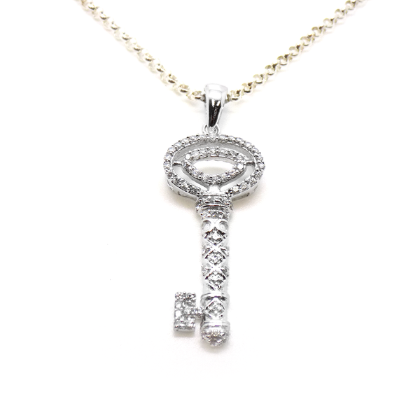 Sterling Silver & CZ Large Key Pendant