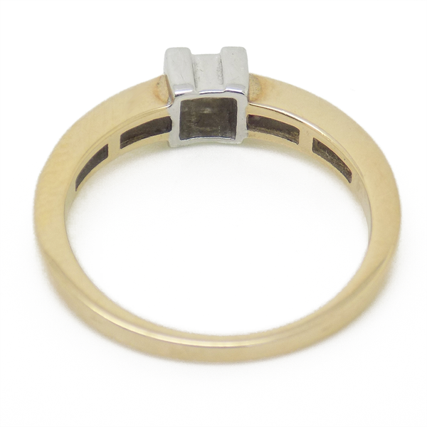 9ct Yellow Gold Four Princess-Cut Diamond Ring with Diamond Set Shoulders - Setting Detail