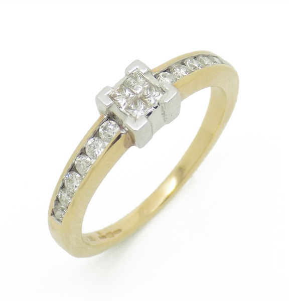 9ct Yellow Gold Four Princess-Cut Diamond Ring with Diamond Set Shoulders