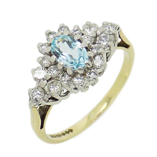 Pre-Loved 9ct Yellow Gold Blue Topaz & Diamond Cluster Ring
