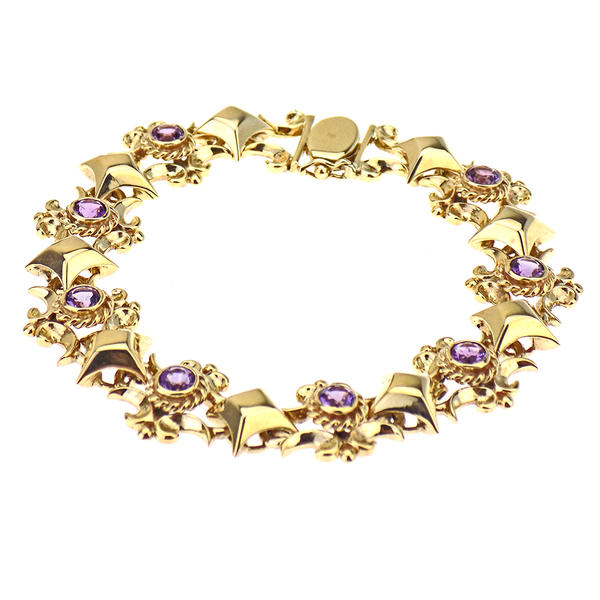 Pre-Loved 9ct Yellow Gold Amethyst Bracelet