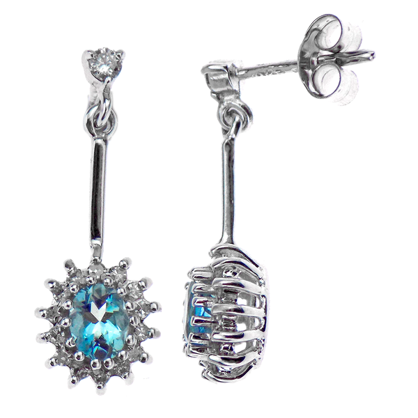 Pre-Loved 9ct White Gold Aquamarine & Diamond Cluster Drop Earrings