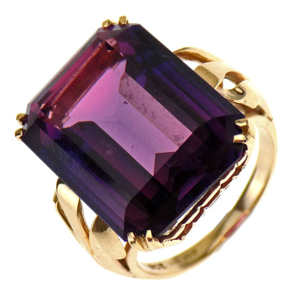 Pre-Loved 9ct Yellow Gold Large Amethyst Dress Ring