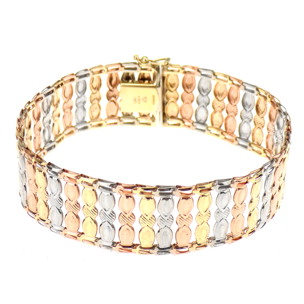 Pre-Loved 9ct Yellow, White & Rose Gold Flat Link Bracelet