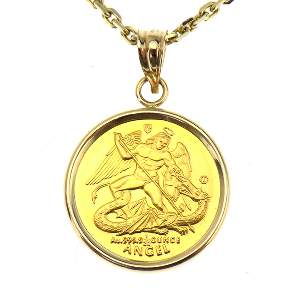 "Pre-Loved 22ct Yellow Gold Angel Coin Mount Pendant & 20"" Chain Reverse"