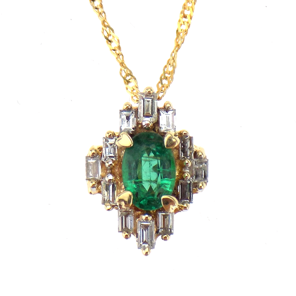 "Pre-Loved 14ct Yellow Gold Tiered Emerald and Diamond Cluster Pendant & 18"" Chain"