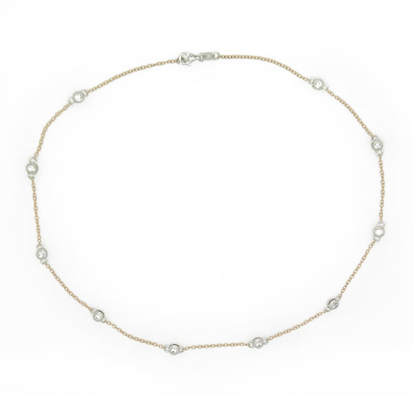Sterling Silver, Rose Gold Plated CZ Chain Necklace Full
