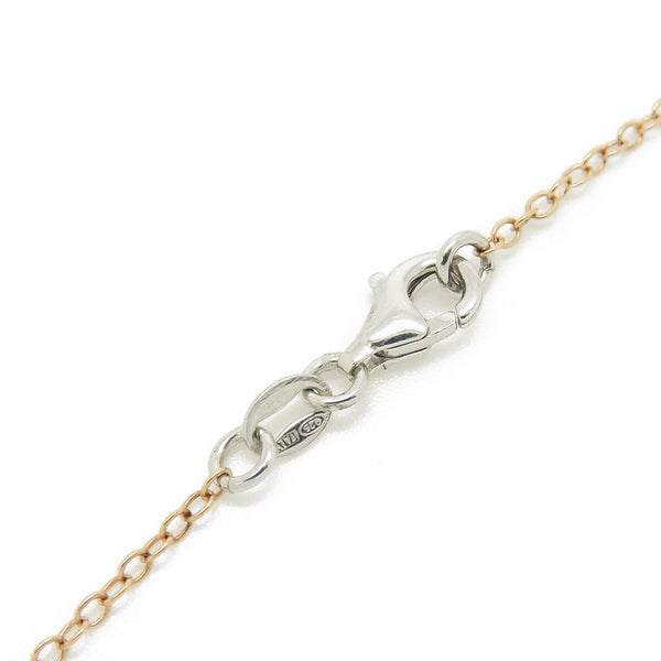 Sterling Silver, Rose Gold Plated CZ Chain Necklace Fastening