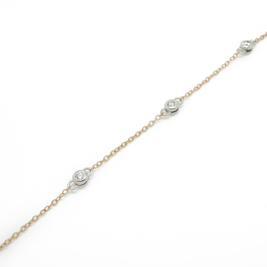 Sterling Silver, Rose Gold Plated CZ Chain Necklace