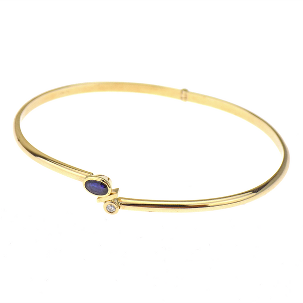 Pre-Loved 9ct Yellow Gold Sapphire & Diamond Hinged Oval Bangle