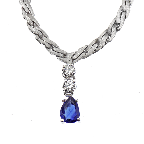 Pre-Loved 18ct White Gold Pear Shape Sapphire and Diamond Drop Collar Necklace