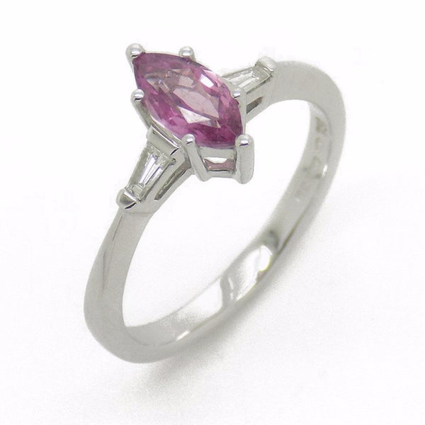 18ct White Gold Marquise Pink Sapphire & Diamond Ring