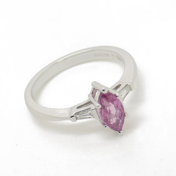 18ct White Gold Marquise Pink Sapphire & Diamond Ring Stone Detail