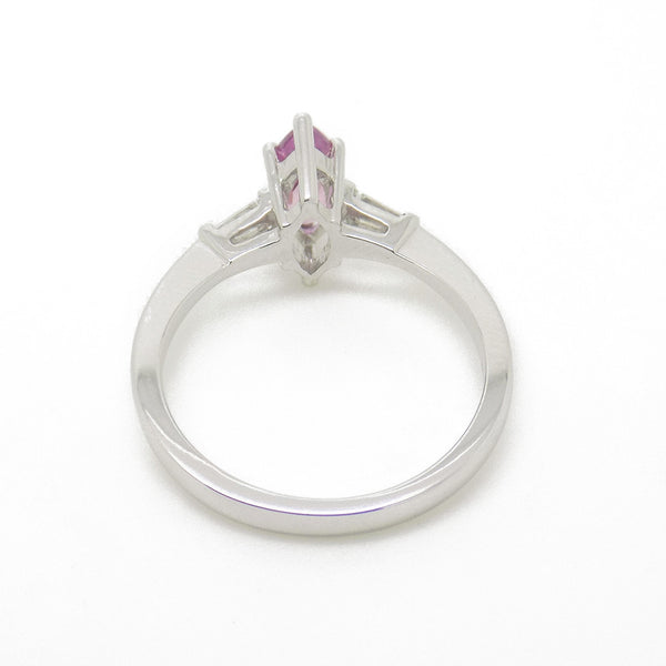 18ct White Gold Marquise Pink Sapphire & Diamond Ring Head Detail