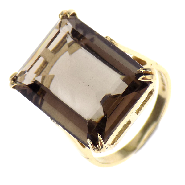 Pre-Loved 9ct Yellow Gold Smokey Quartz Large Stone Ring