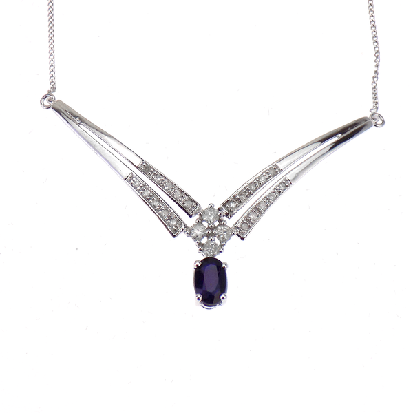 Pre-Loved 9ct White Gold Diamond & Sapphire Necklace