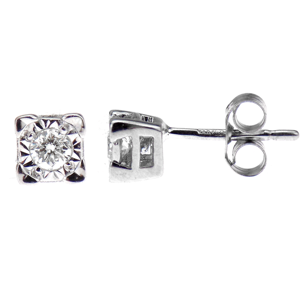 Pre-Loved 9ct White Gold Diamond Stud Earrings