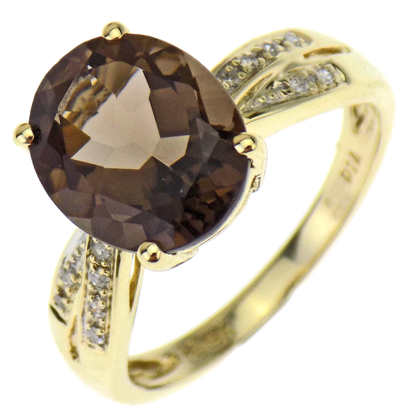Pre-Loved 9ct Yellow Gold Smokey Quartz & Diamond Dress Ring