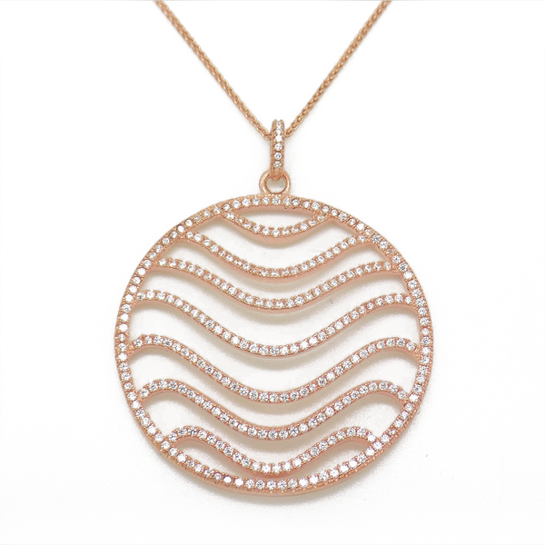 Sterling Silver, Rose Gold Plated & Cubic Zirconia Large Round Wave Pendant & Chain