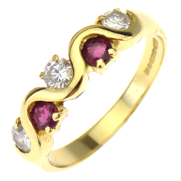 Pre-Loved 18ct Yellow Gold Ruby & Diamond Eternity Ring