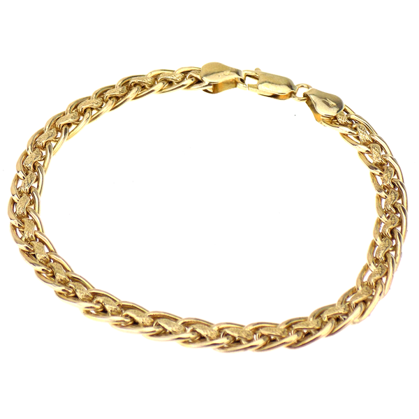 Pre-Loved 9ct Yellow Gold Polished & Textured Fancy Link Bracelet