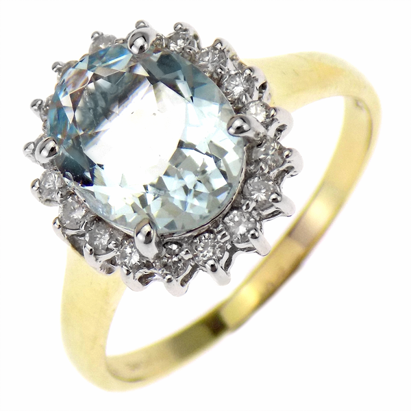 Pre-Loved 9ct Yellow Gold Aquamarine & Diamond Cluster Ring