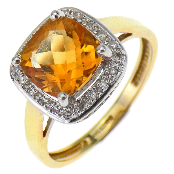 Pre-Loved 9ct Yellow Gold Orange & White Stone Cluster Ring