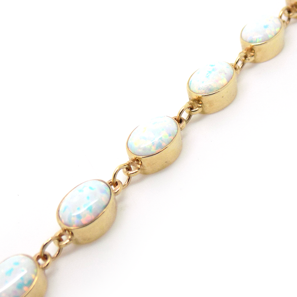 9ct Yellow Gold Oval Opalite Bracelet Link Detail
