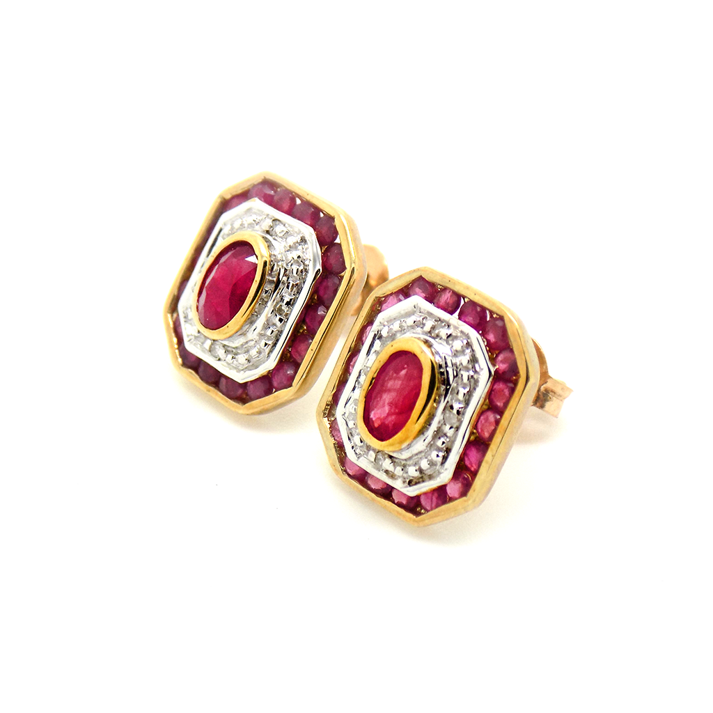 9ct Yellow Gold Ruby & Diamond Octagonal Shape Stud Earrings