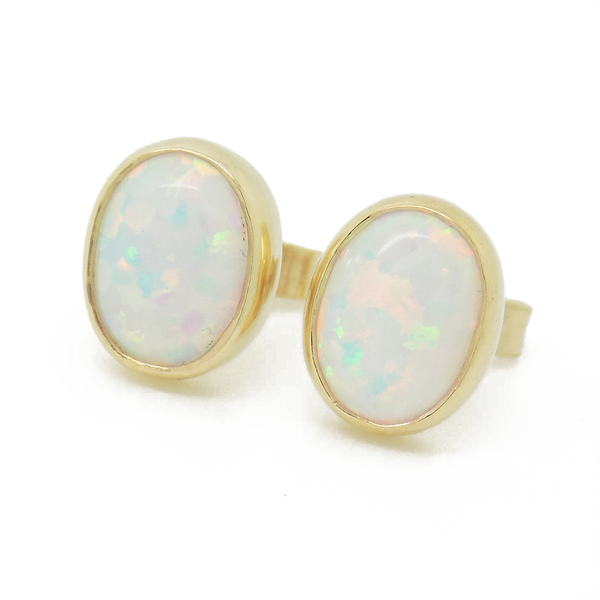 9ct Yellow Gold Oval Opal Stud Earrings