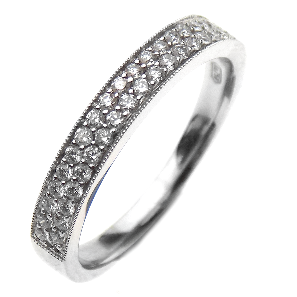 18ct White Gold Two Row Diamond Eternity Ring