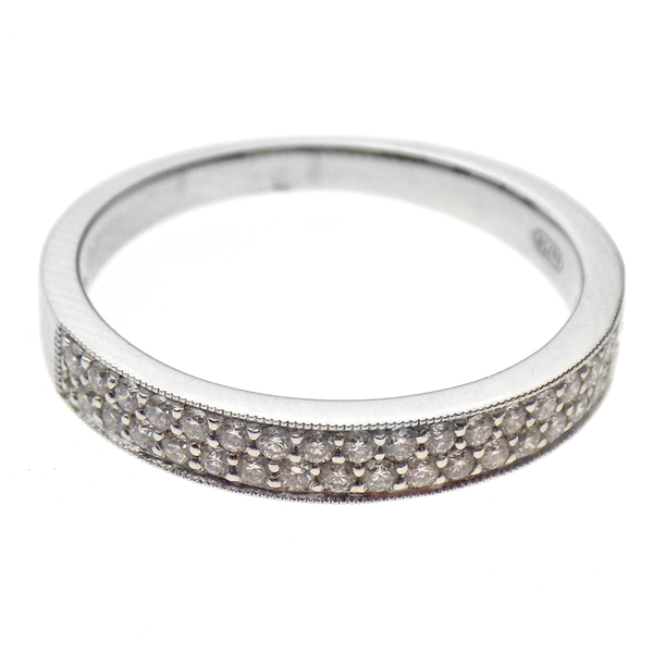 18ct White Gold Two Row Diamond Eternity Ring Front