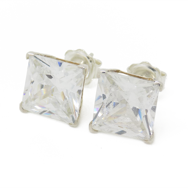 Sterling Silver 10mm Square Claw Set Cubic Zirconia Stud Earrings